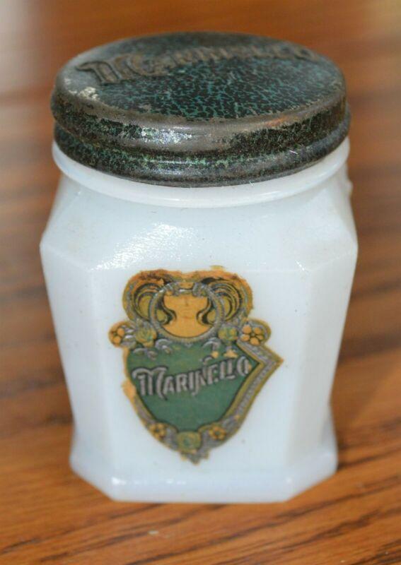 Antique Marinello Acne Cream Chicago Milk glass jar w/ label Pharmacy Drugstore