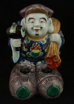 "Antique Japanese Kutani Ware Daikoku Figure. 7 ½"" t. Meiji period - 1868 - 1912"