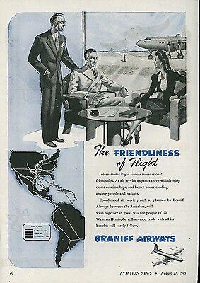 1945 Braniff Airways Ad International Travel Flying Planned Flight Service