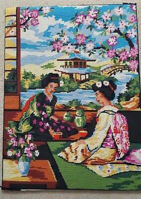 Completed hand worked wool work needlepoint tapestryJapanese Theme  20