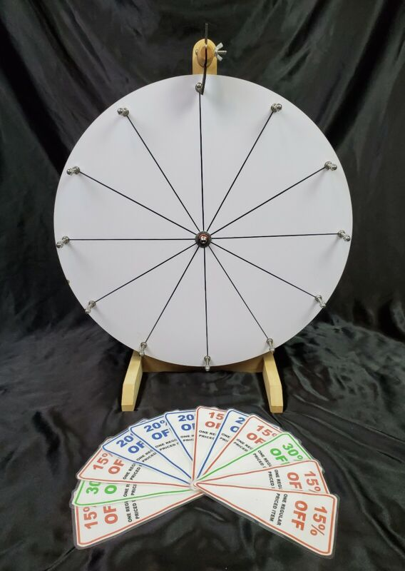 Tabletop Prize Spin Wheel White Customizable 12 Slots Business Trade Show