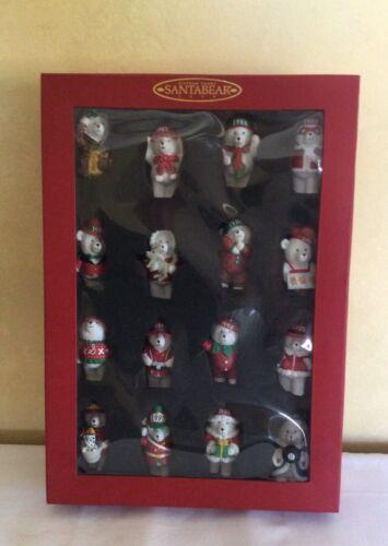 15 Years Santa Bear Christmas Ornaments 1999 Boxed Set of 16