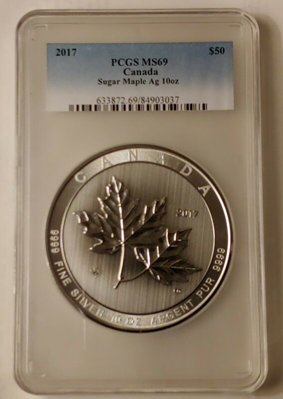 2017 Canada $50 Silver Sugar Maple Leaf 10 oz. PCGS MS-69