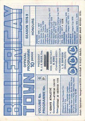 Billericay Town v Grays Athletic 1978/9 (30 Dec) K-Athenian League