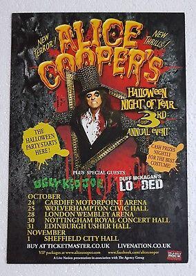 ALICE COOPER Tour/Concert Flyer 3rd Halloween Night of Fear 2012 UK Heavy Metal - Halloween Concert Flyer