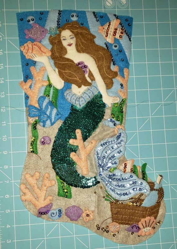 "Finished Bucilla ""Sea Princess 18"" Mermaid Christmas Stocking - Handstitched"