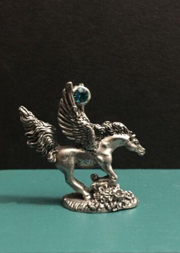 Comstock CCI Pewter Metal Pegasus Emerald Jade Green Jewel Miniature Figurine