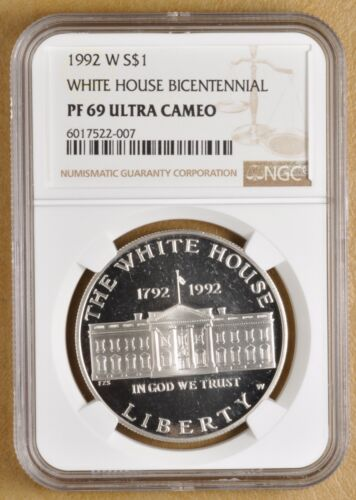 1992 W White House Commemorative Silver Dollar NGC PF 69 Ultra Cameo