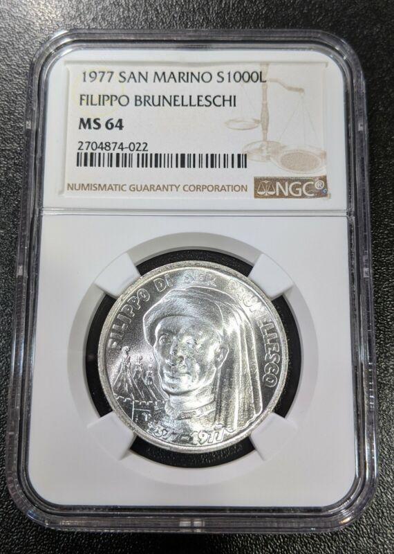 1977 MS64 San Marino Silver 1000 Lire NGC Filippo Brunelleschi KM 72 UNC