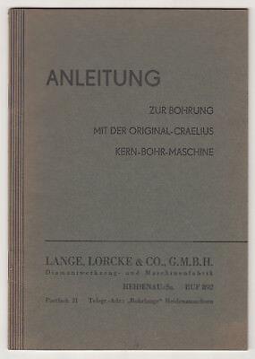 Instructions Original Craelius Core Drill Tiefbohrungen Long Lorcke Heidenau