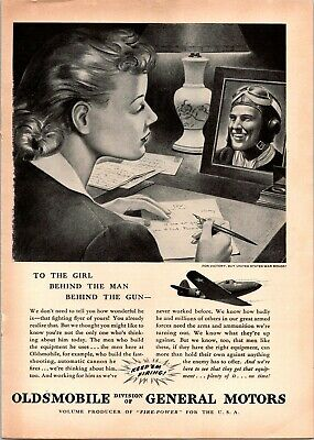 Oldsmobile WWII GM The Girl Behind The Man Gun Soldier GI 1942 Vintage Print Ad