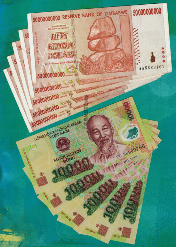 5 x 50 Billion Zimbabwe Dollars + 5 x 10000 Vietnam Dong Bank Notes Currency Lot