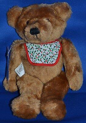 "Hallmark Bo-Bo Bear~Christmas Baby Teddy Plush~1984~Jointed~Holiday Bib~9""~Tag"