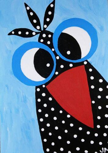 New ACEO Original Painting Signed Folk Art Miniature The Bossy Bird  - $7.00