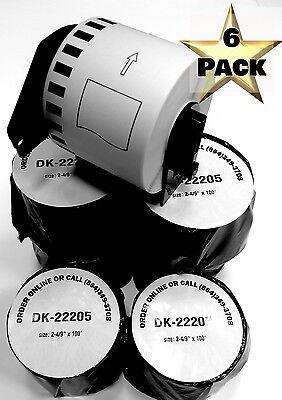 6 Rolls Labels123 Brand-fits Brother Dk 2205 P-touch Ql700 Ql500 1 Cartridge