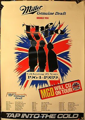 "1964-1989 The Who 25 Year Anniversary Tour 21 x 30"" Poster Rock N' Roll MGD"
