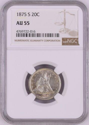 USA (San Francisco Mint) Silver Seated Liberty 20 Cents 1875-S NGC AU 55
