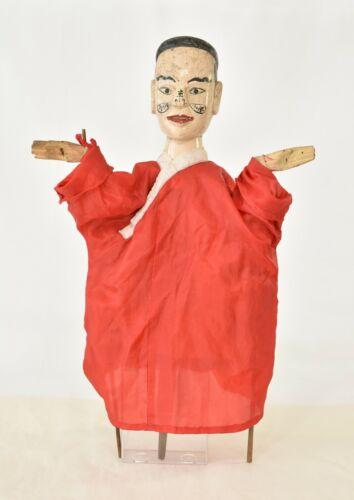 "Vintage Chinese Handmade Wood & Bamboo Opera Puppet w Rod, 22.5"""