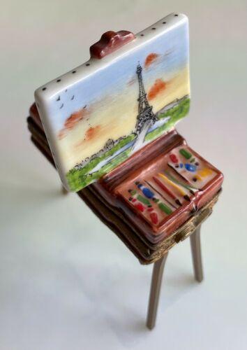 ROCHARD Signed Limoges older RARE trinket box Painting on Folding Brass Easel