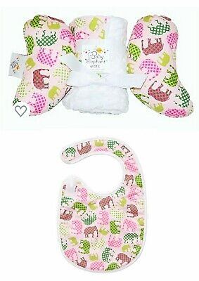 New Baby Elephant Ears Head Support Pink Elephant Pillow, Blanket Tuck Tidy Bib  Pink Elephant Baby Bib