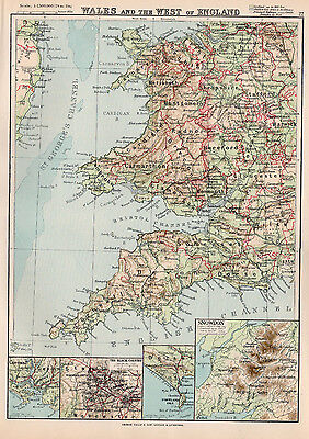 Map Of Wales Antique & the West Of England Cornwall Bristol Devon 1894
