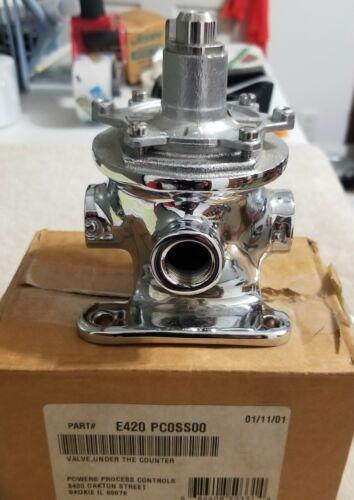 POWERS E420 PC0SS00 UNDER COUNTER VALVE 3 PORT CHROME NOS IN ORIGINAL BOX CHROME