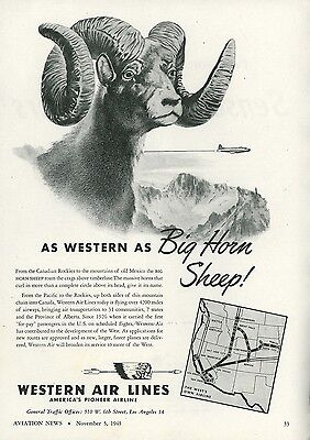 1945 Western Air Lines Ad Big Horn Sheep Vintage Travel Flying Airline