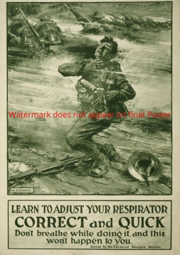 Propaganda Poster Poison Gas Respirator Mask WWI WWI World War Soldier Print Art