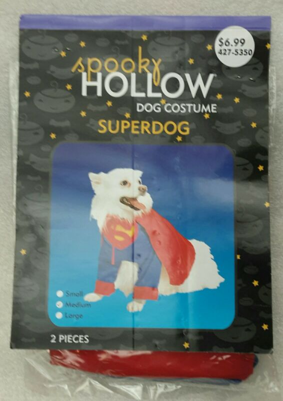 NEW In Package SPOOKY HOLLOW SUPERDOG COSTUME Small to Medium 2 pcs