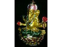 schwarz ca Gebetsfahne 20 x 16 cm Ganesha