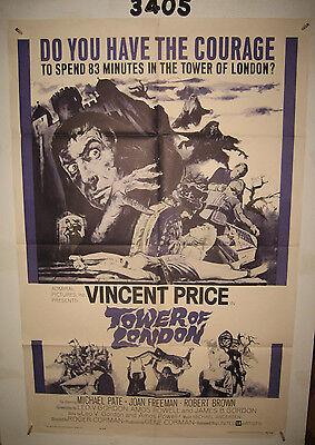 Tower of London Original 1sh Movie Poster 1962 Vincent Price, Roger Corman,