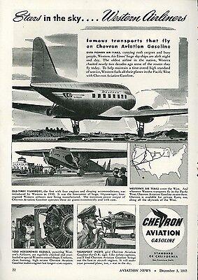 1945 Chevron Aviation Gasoline Ad Western Airlines Vintage Travel Gas Fuel Oil