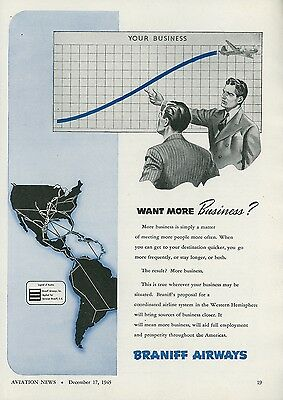 1945 Braniff Airways Ad Connecting Businesses Airline Vintage Airplane Travel