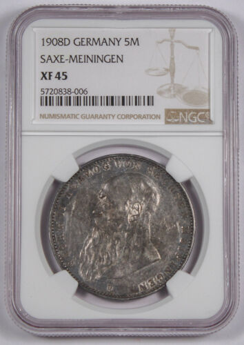 1908 D Germany SAXE-MEININGEN 5 Mark Silver Coin NGC XF45 George II Nice Luster