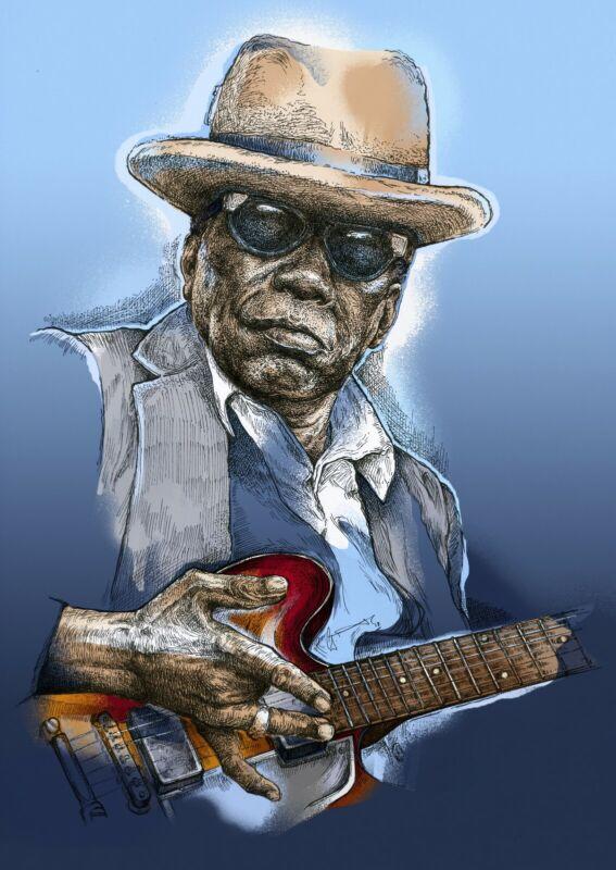 Johnny Lee Hooker art print unframed blues specially designed