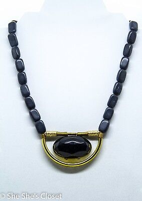 "David Aubrey8"" necklace with river stones brass faceted onyx acrylic, - Acrylic Onyx Necklace"