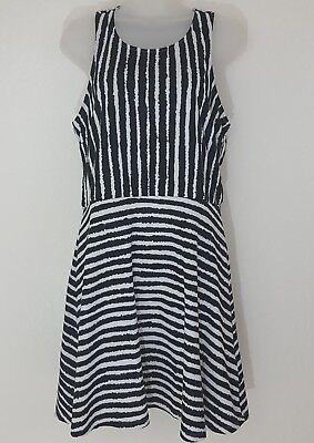 H&M Women's Striped Black White Skater Stripey Dress Sleeveless Size Large  #D8
