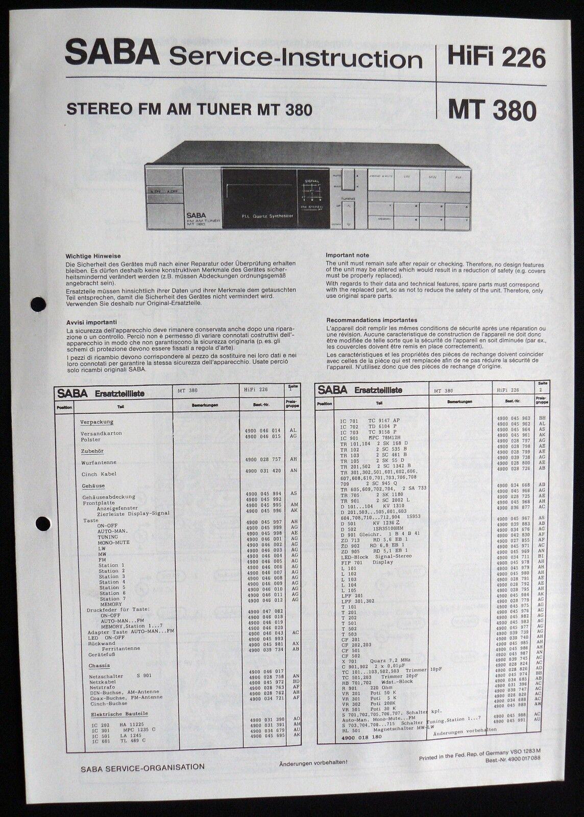 SABA HiFi 226 -AM FM Tuner MT 380 Schaltbild Ersatzteilliste Service-Instruction