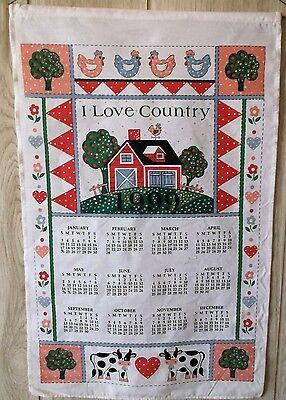 Apple Kitchen Tea Towel - 1999 Calendar Kitchen Tea Towel Small Barn Cows Chickens Apple Trees Country