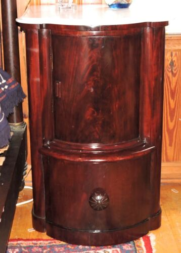 """Night Stand, rare bed step drawer, cylinder roll door, mah, 34""""t, Empire, c1830"""