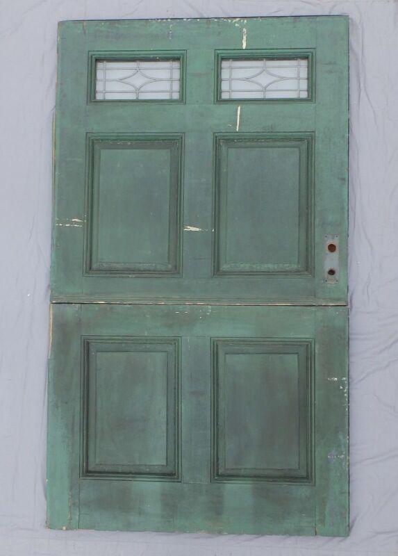 Antique 83x48 Wide Dutch Door Leaded Glass Exterior Entrance Door Vtg 563-18P