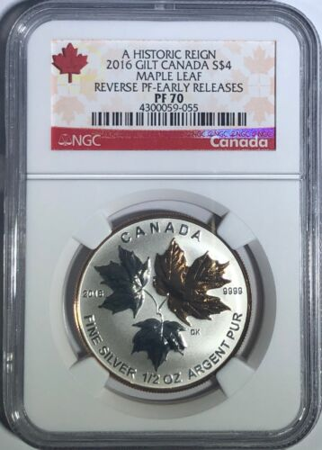 2016 $4 1/2 OZ CANADA SILVER MAPLE LEAF GILT NGC PF70 UCAM REVERSE PROOF PR70