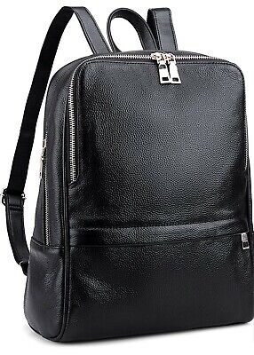 Coolcy Women Casual Real Leather Backpack Purse Black