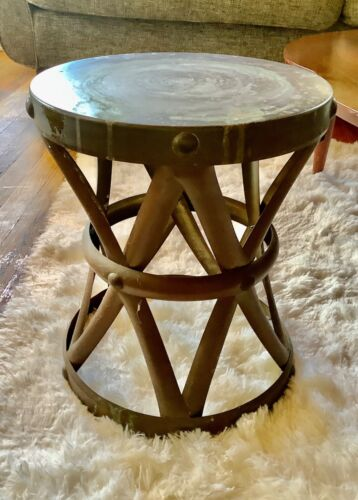 Vintage mid century modern retro Brass drum X Stool End Table Plant stand