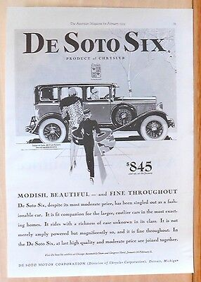 1929  magazine ad for De Soto - De Soto Six, Modish & beautiful Sedan de Lujo