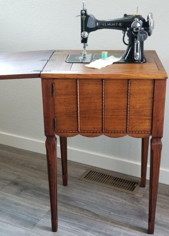 Antique RARE Belmont-E Sewing Machine w/Cabinet Works Clean