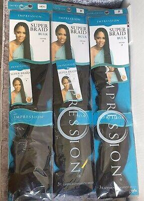 3 x IMPRESSION SUPER Braid Bulk Hair Extension Colour 2