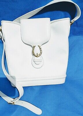 Vintage Gucci GG Supreme Canvas Flap Crossbody Bucket Bag Italy White Gold