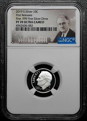 2019 S Silver Proof Roosevelt Dime NGC PF70 First Releases .999 Coin SKU C65 Silver Proof Roosevelt Dime