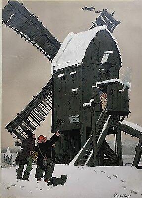 ERICH KUX 1882 - 1977 WINTERLANDSCHAFT MIT BOCKWINDMÜHLE - KINDERMOTIV